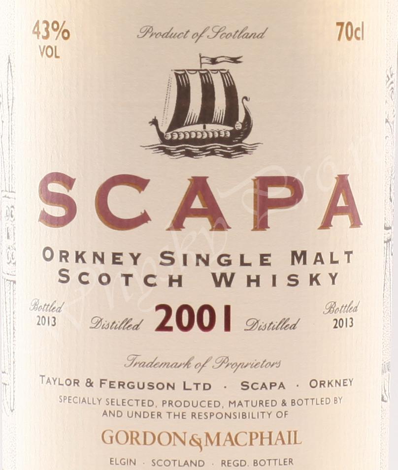 Scapa 2001 year / Gordon & Macphail