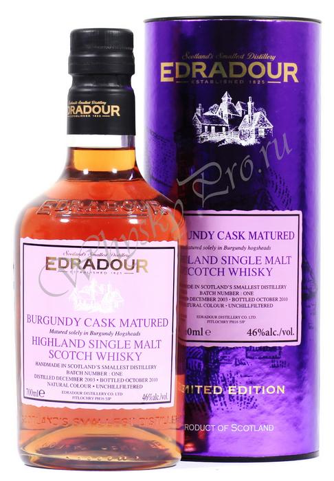 Виски Эдрадур Бургундия 2003 года Шотландский виски Edradour Burgundy Cask Matured 2003
